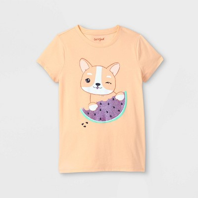 Girls' Corgi Graphic Short Sleeve T-Shirt - Cat & Jack™ Light Peach