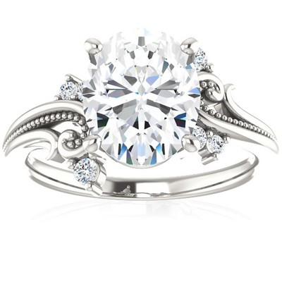 Pompeii3 2 1/5 Ct Oval Moissanite & Lab Created Diamond Engagement Ring 14k White Gold