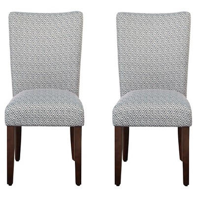 Set of 2 Parson Dining Chair Wood/Navy Key - HomePop