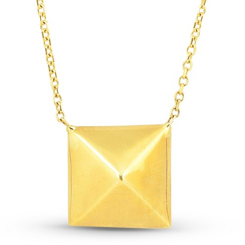 Pompeii3 Solid 14k Yellow Gold Pyramid Pendant Womens Fashion Necklace 18 With Jumper Target
