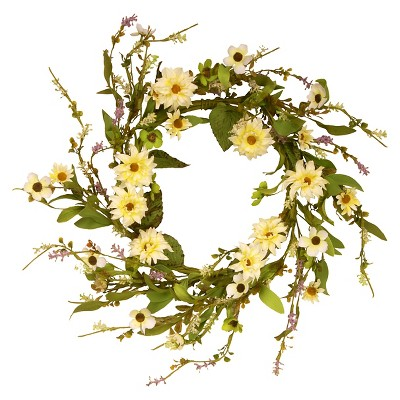 Garden Accents Floral Wreath with Daisy - Yellow (20 )