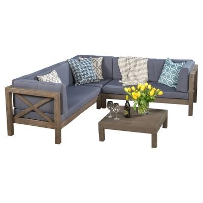Brava 4pc Wood Patio Chat Set w/ Cushions - Dark Gray - Christopher Knight Home