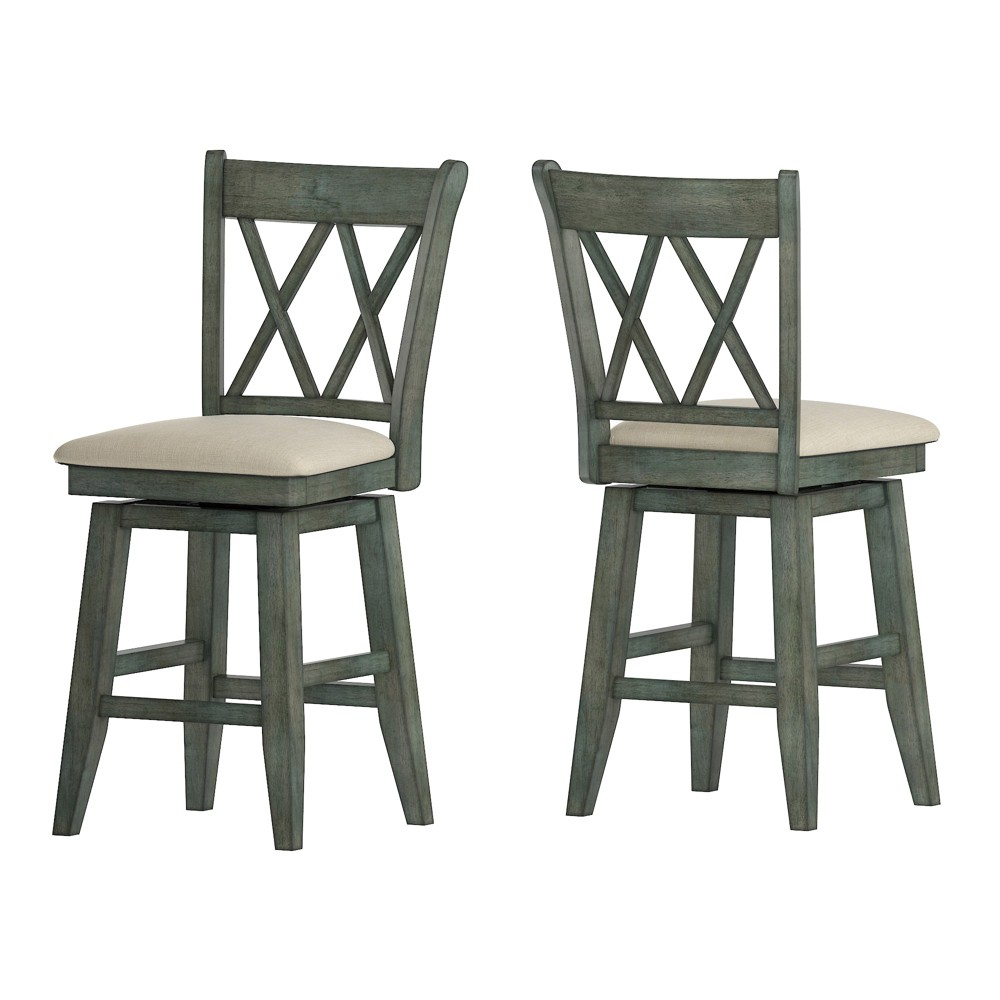 """Image of """"24"""""""" South Hill Double X Back Swivel Counter Height Chair Aqua - Inspire Q"""""""