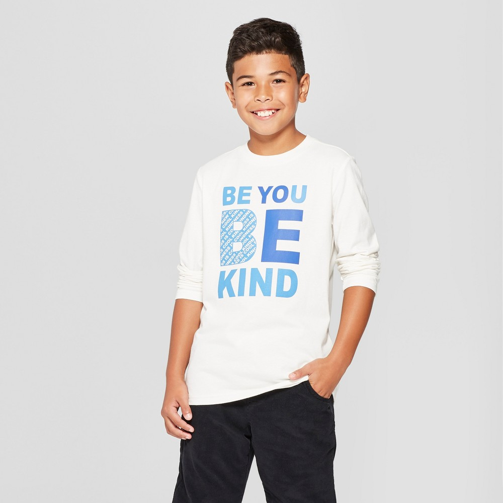 Boys' Be Kind Long Sleeve Graphic T-Shirt - Cat & Jack White S