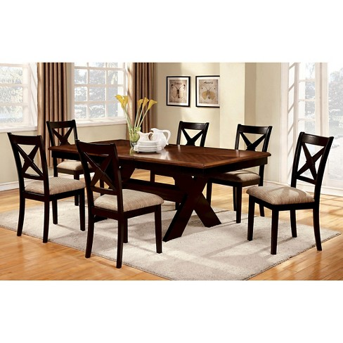 black dining table set 7pc Dining Table Set Wood/Black/Brown   Furniture of America : Target black dining table set