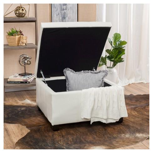 Sensational Cortez Faux Leather Storage Ottoman Christopher Knight Home Cjindustries Chair Design For Home Cjindustriesco