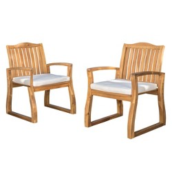 Della 2pk Acacia Wood Dining Chairs - Teak-Rustic Metal - Christopher Knight Home