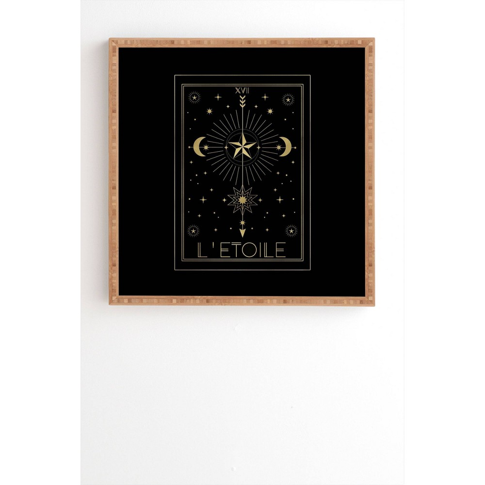 "Image of ""12"""" x 12"""" Emanuela Carratoni L Etoile or the Star Gold Framed Wall Art Black - Deny Designs, Size: 12""""x12"""""""