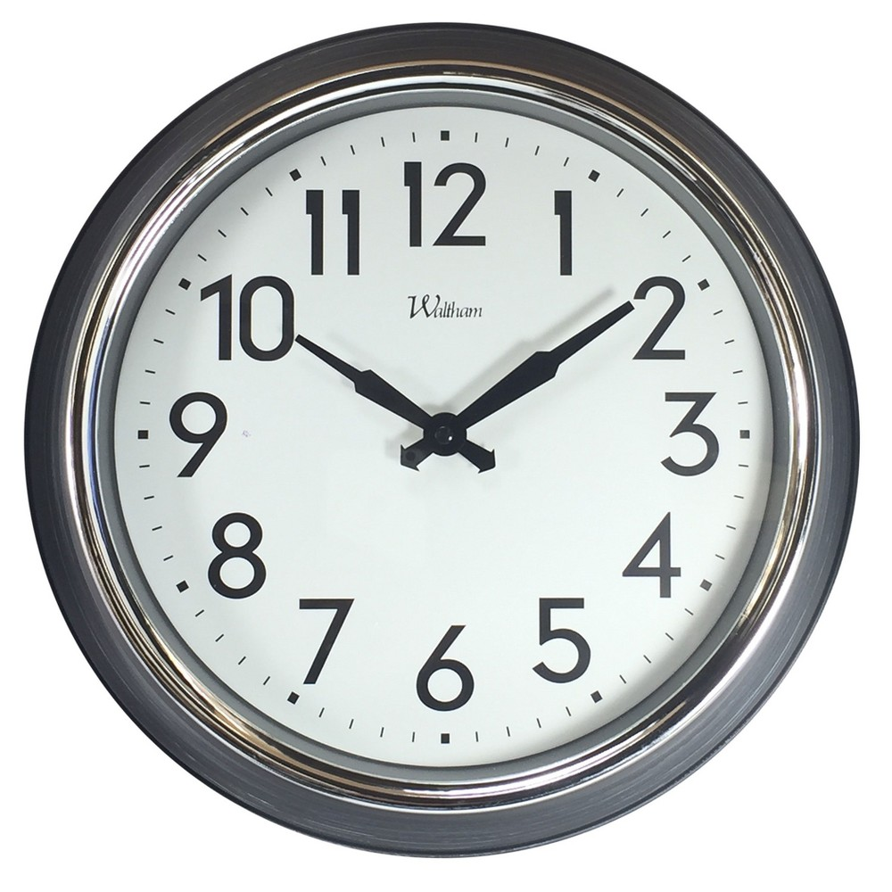 "Image of ""Round 14"""" Grey Rustic Finish Case with Chrome Bezel Wall Clock - Nelsonic"""