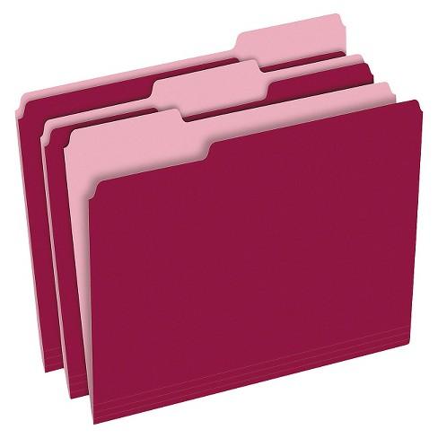 Pendaflex Two Tone File Folder 13 Cut Top Tab Letter Burgundylight Burgundy 100box