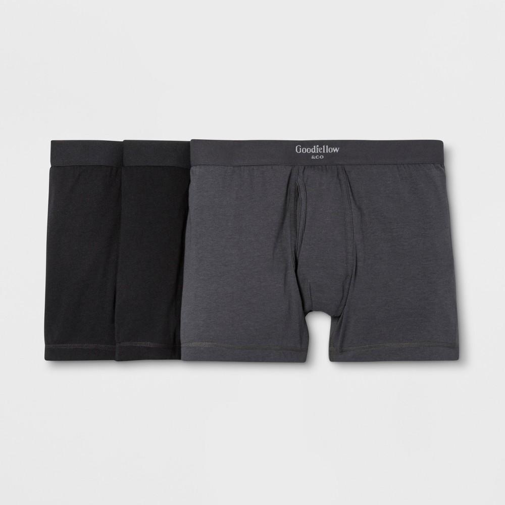 Men's Premium Knit 3pk Boxer Briefs - Goodfellow & Co Dark Gray/Black S