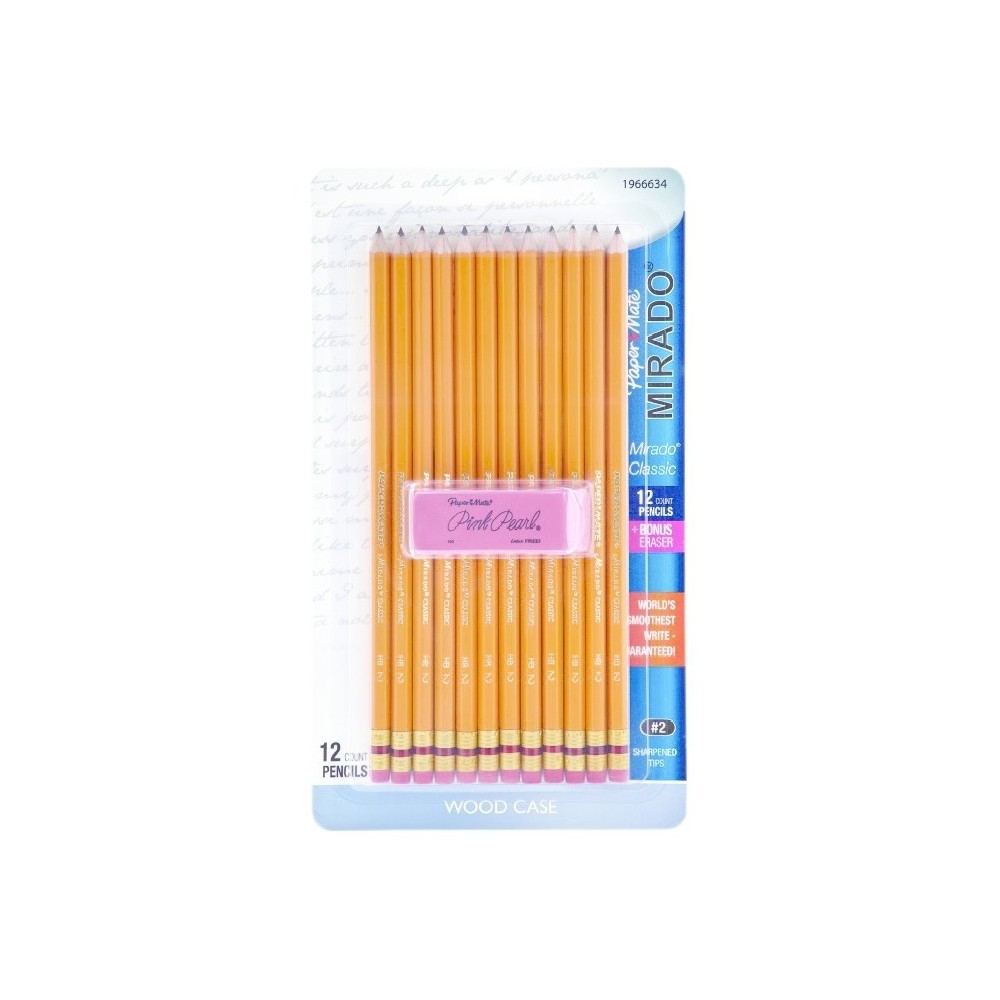 Paper Mate #2 Pencils with Pink Pearl Eraser 12ct