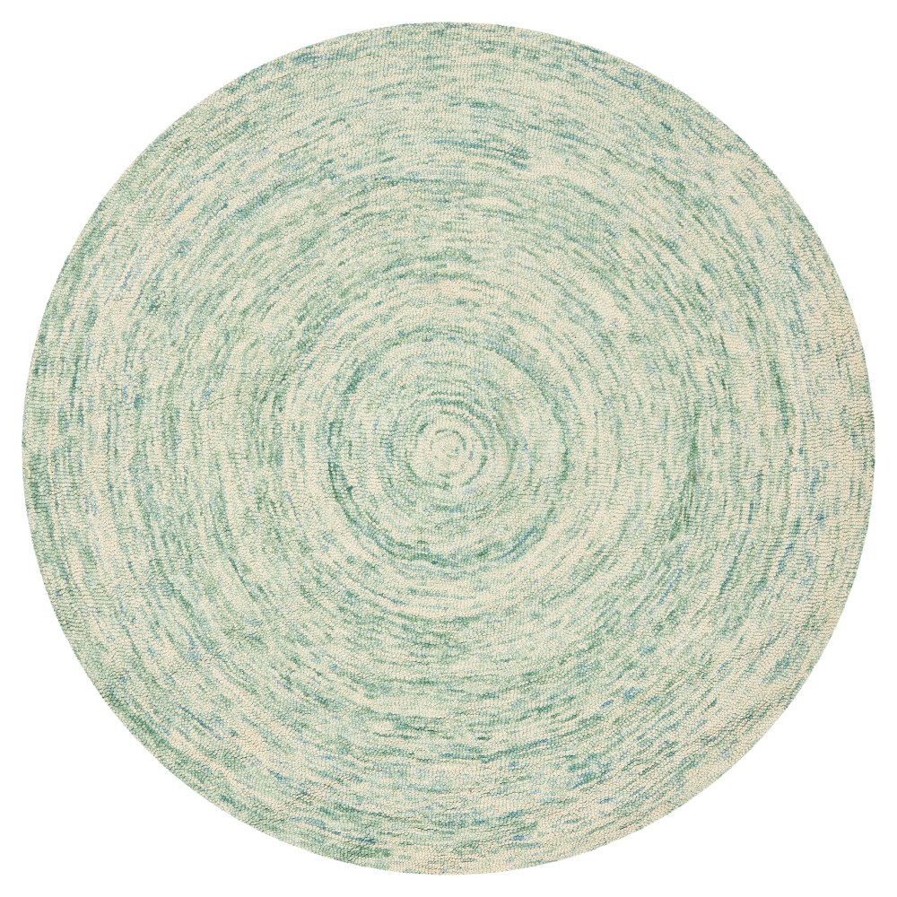 Ivory/Blue Abstract Tufted Round Area Rug - (6' Round) - Safavieh, White