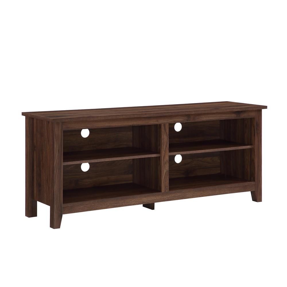 58 Wood TV Media Stand Storage Console Dark Walnut - Saracina Home