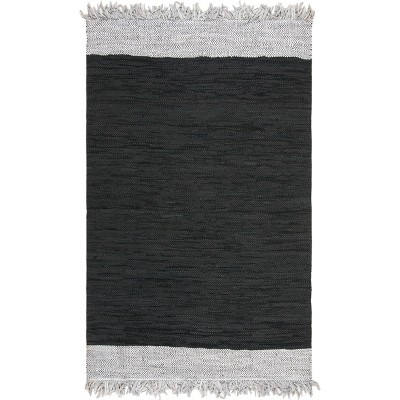 4'X6' Solid Woven Area Rug Light Gray/Black - Safavieh