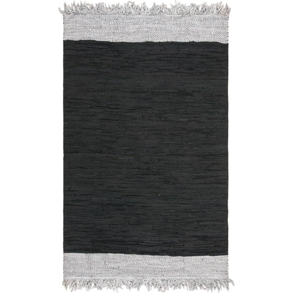 5'X8' Solid Woven Area Rug Light Gray/Black - Safavieh