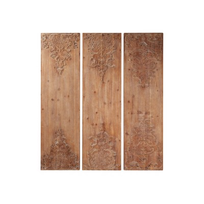 """(Set of 3) 15.5"""" x 55"""" Large Hand Carved Natural Wood Wall Decor Panels with Antique and Acanthus Carvings - Olivia & May"""