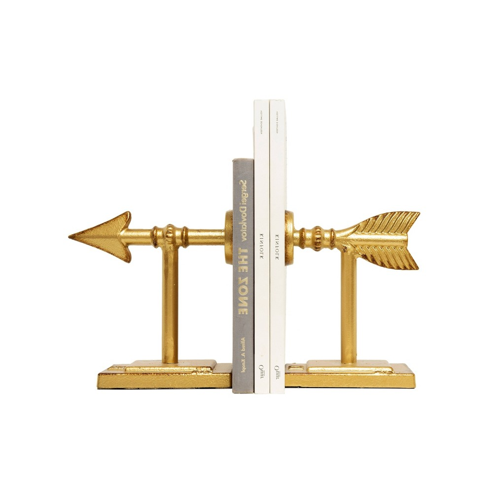 "Image of ""6.5"""" x 3.5"""" 2pc Metal Arrow Bookend Set Gold - 3R Studios"""