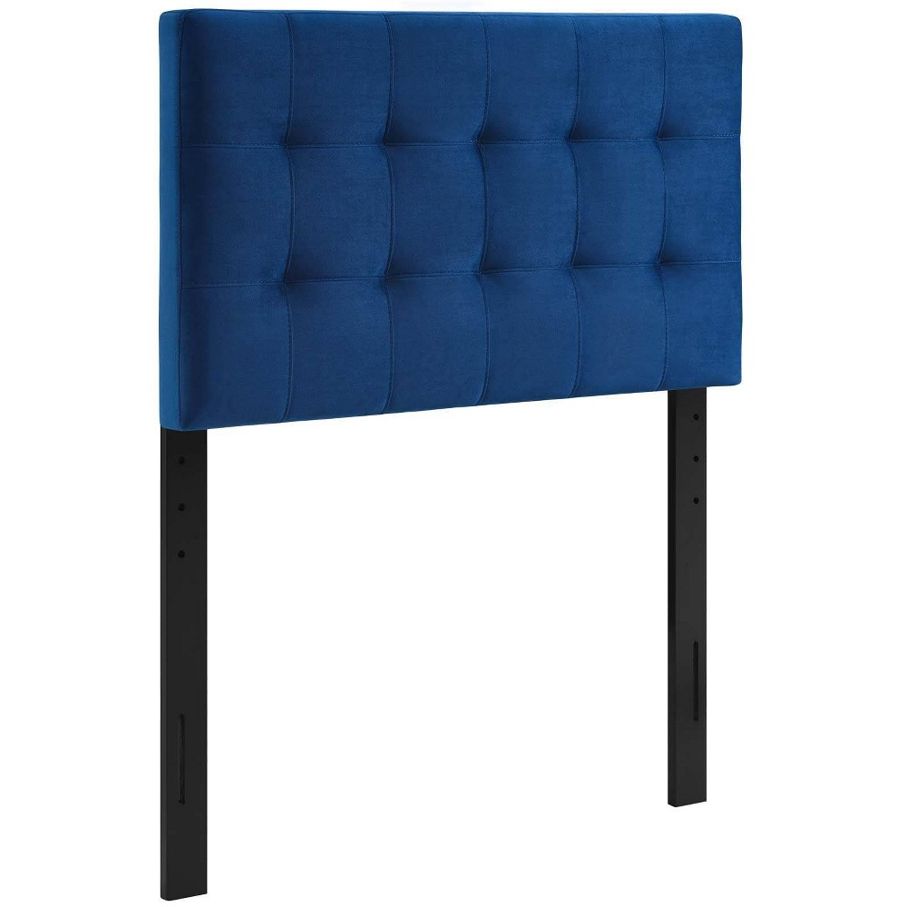 Twin Lily Biscuit Tufted Performance Velvet Headboard Navy Modway