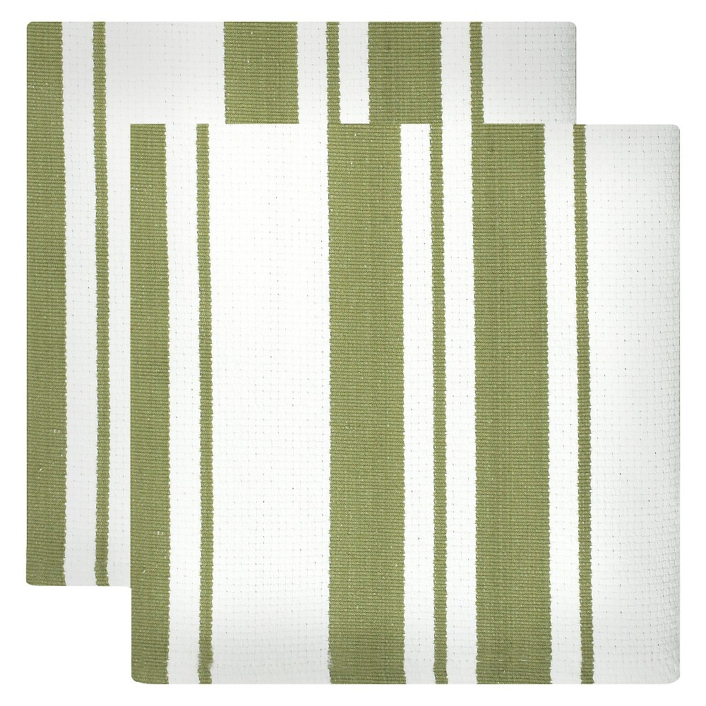"Image of ""13""""x13"""" 2pk Cotton Stripe Kitchen Towel Green - Mu Kitchen"""