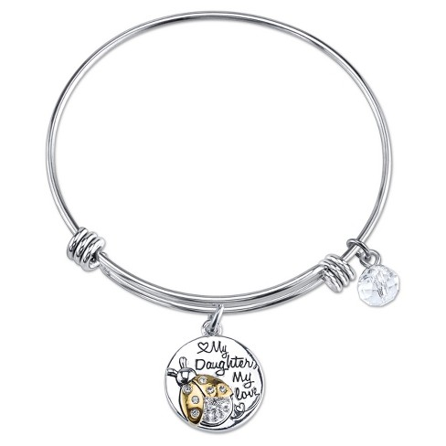 """Women's Stainless Steel Two Tone My daughter My love My little ladybug expandable Bracelet - Silver/Gold (8"""") - image 1 of 2"""