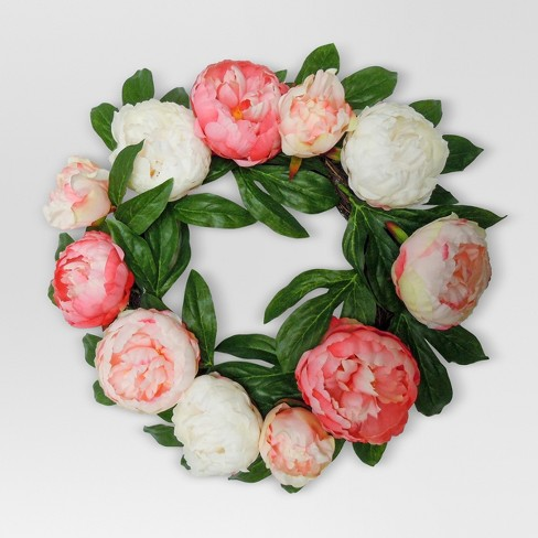 "Artificial Peony Wreath Pink (18"") - Threshold™ - image 1 of 1"