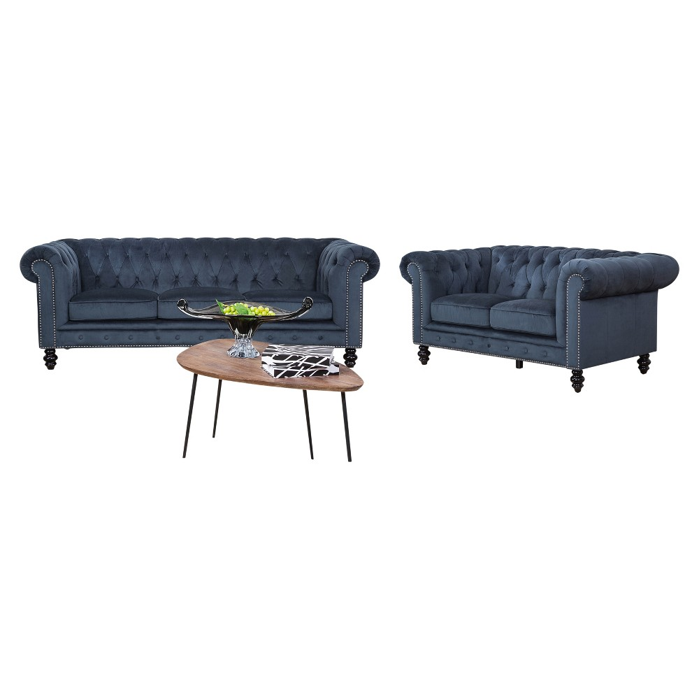 Fantastic Grand Wyatt 2Pc Velvet Sofa And Loveseat Blue Abbyson Living Gmtry Best Dining Table And Chair Ideas Images Gmtryco