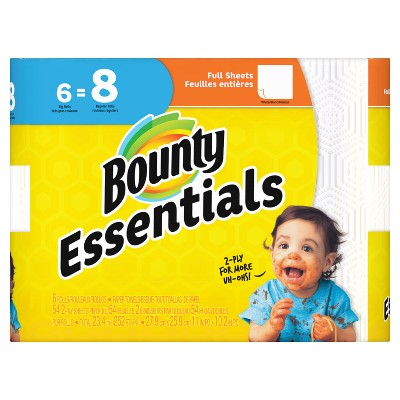 Bounty Essentials Full Sheet White Paper Towels - 6 Big Rolls
