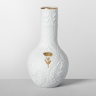 10  x 5  Decorative Stoneware Vase White/Gold - Opalhouse™