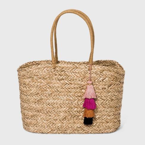 Straw Tote Handbag - A New Day™ - image 1 of 3