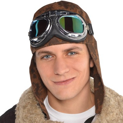 Adult Aviator with Goggles Hat Accessory Halloween Costume