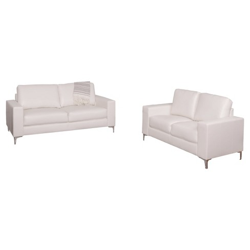Cory 2pc Contemporary White Bonded Leather Sofa Set ...
