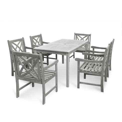 Vifah Renaissance Eco-friendly 7 Piece Outdoor Hand-scraped Hardwood Dining Set with Rectangle Table and Arm Chairs - image 1 of 7