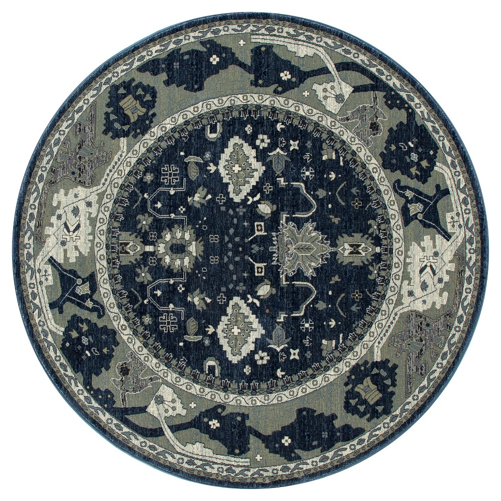 Blue Abstract Woven Round Area Rug - (5') - Art Carpet