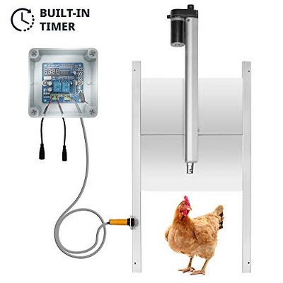"""Jumbl Automatic Chicken Coop Door Opener w/Timer and Remote  11"""" Opening w/Infrared Safety Sensor  Electrical 12V DC Actuator Motor"""