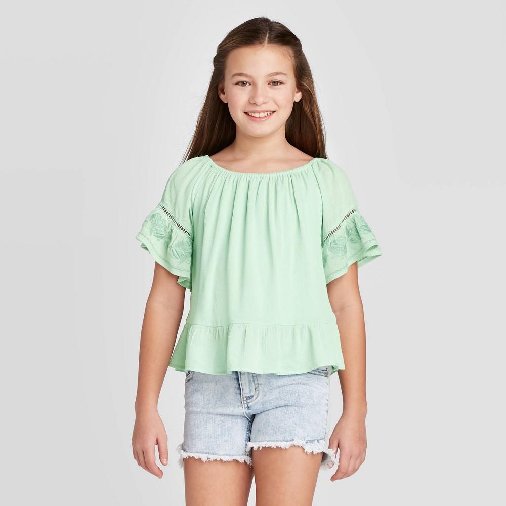 Girls' Scoop Neck Peplum Blouse - art class Green L was $16.99 now $6.79 (60.0% off)