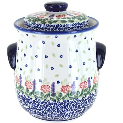 Blue Rose Polish Pottery Roses Are Red Cookie Jar