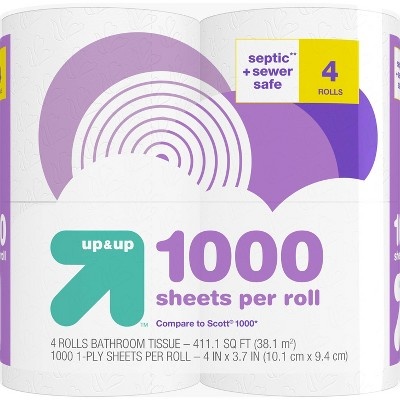 Septic + Sewer Safe Toilet Paper- 4 Rolls - up & up™
