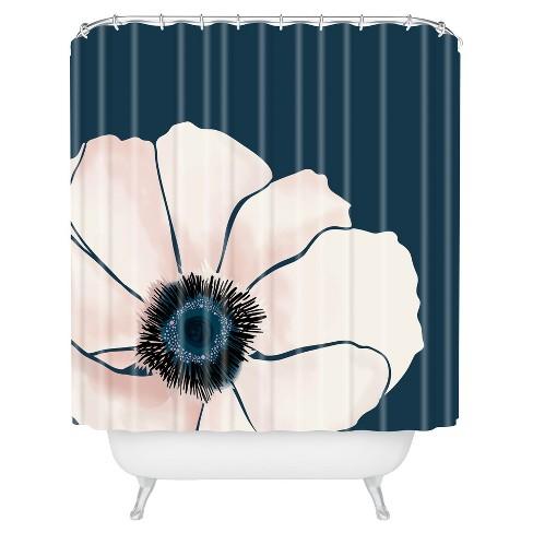 Khristian A Howell Fleur Floral Shower Curtain Navy