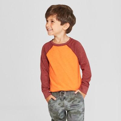 Toddler Boys' Long Sleeve Raglan T-Shirt - Cat & Jack™ Orange/Dark Red 2T