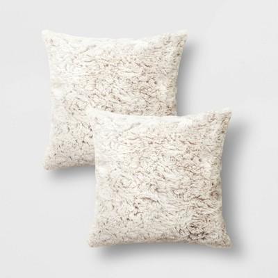 2pk Tipped Faux Rabbit Fur Square Throw Pillow Neutral