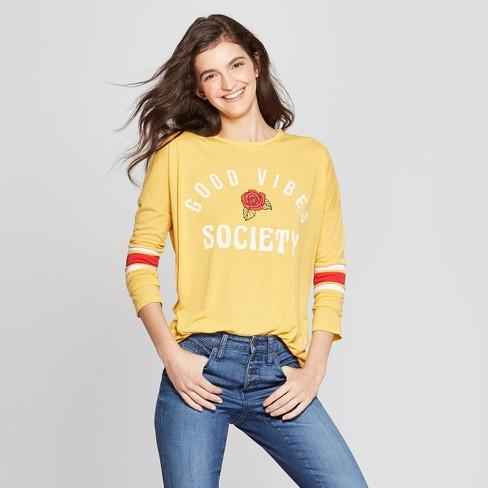 Women s Long Sleeve Good Vibes Society Graphic T-Shirt - Mighty Fine  (Juniors ) Mustard 2e19f28aa82