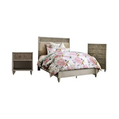 3pc Del Grande Bedroom Set with Nightstand and Chest Antique White/Beige - HOMES: Inside + Out