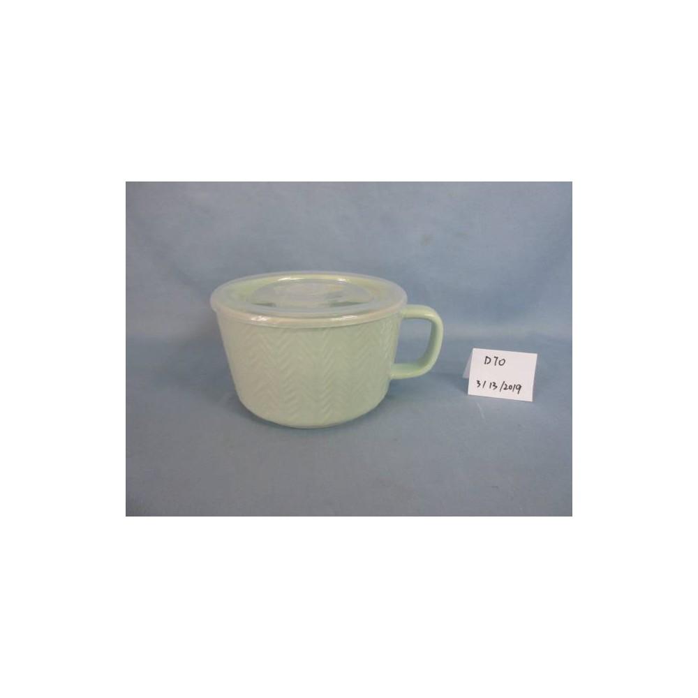 Image of 17.6oz Stoneware Cable Knit Soup Mug Teal - Threshold