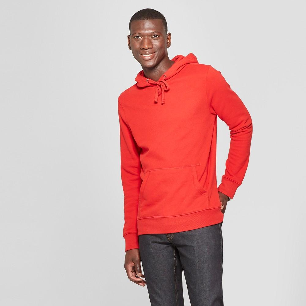 Men's Standard Fit Long Sleeve Fleece Hooded Sweatshirt - Goodfellow & Co Ripe Red 2XL