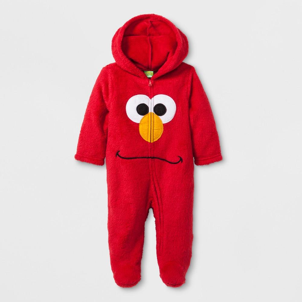 Baby Boys' 2pk Sesame Street Elmo Long Sleeve Hooded Bodysuit - White/Red 3-6M, Multicolored