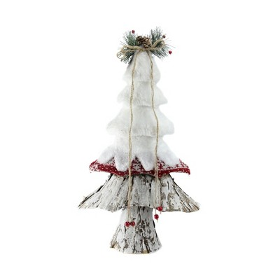"""Northlight 18"""" White and Brown Rustic Christmas Tree Tabletop Decor"""