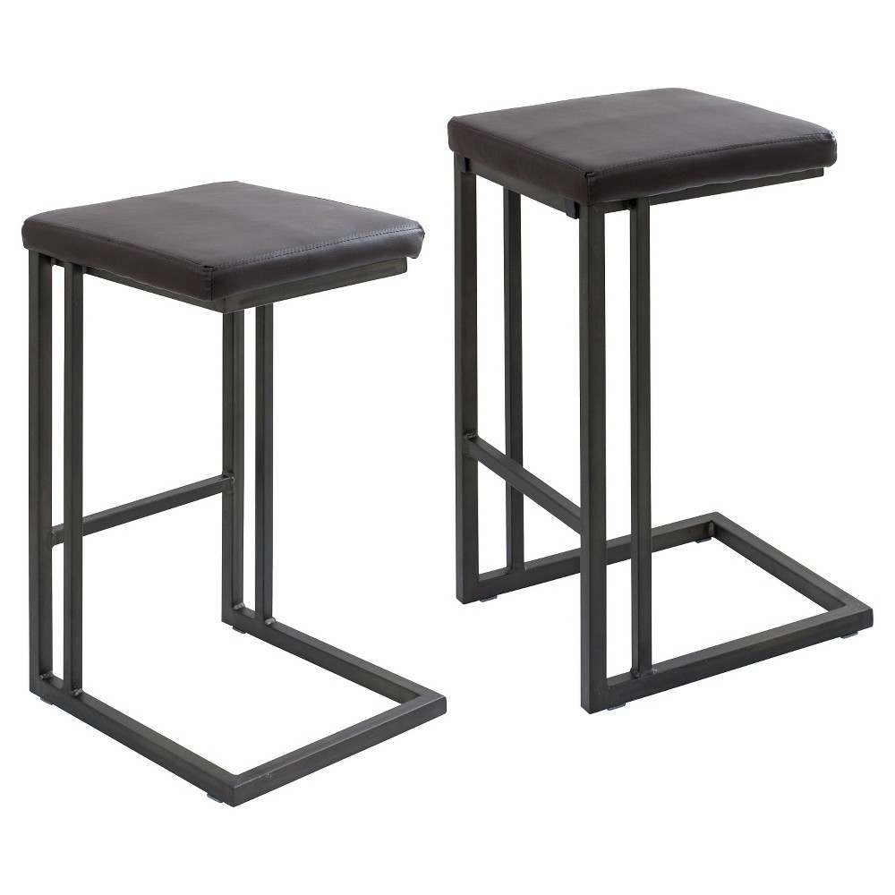 "Image of ""25"""" Roman Industrial Counter Stool - Espresso - (Set of 2) - LumiSource, Brown"""
