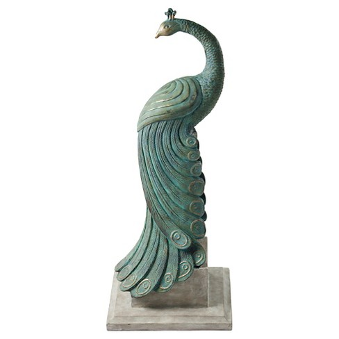 "34.44"" H Fiberglass Outdoors Royal Peacock Statuary - Vintage Green - Bombay Outdoors - image 1 of 2"