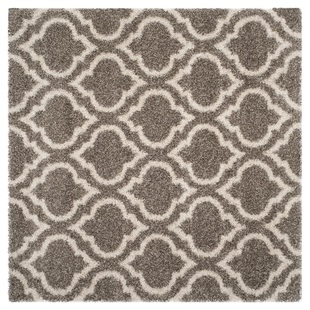 Gray/Ivory Geometric Shag and Flokati Loomed Square Area Rug 7'X7' - Safavieh